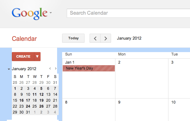 Calendar image January 1