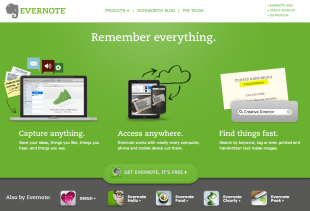 Evernote web app