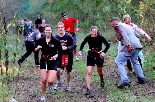 Runners evade zombies