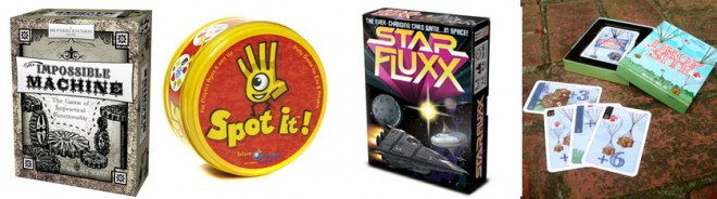 4 card games: Impossible Machine, Spot It, Star Fluxx, Drop Site
