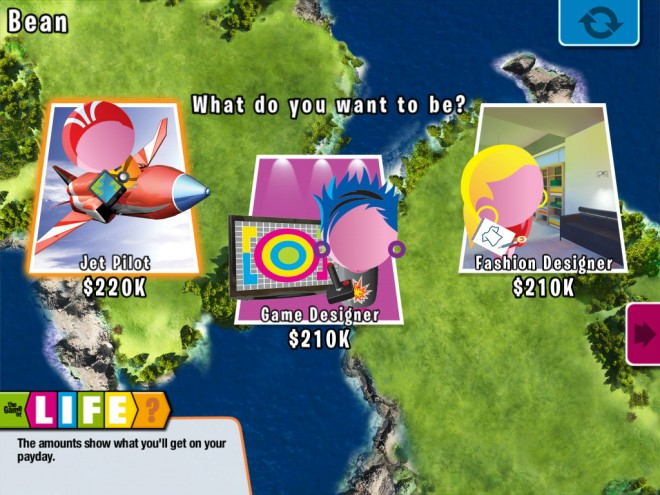 Game of Life Zapped career screen