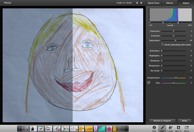 """""""The Self Portrait of Dulcie"""" before and after tweaking"""