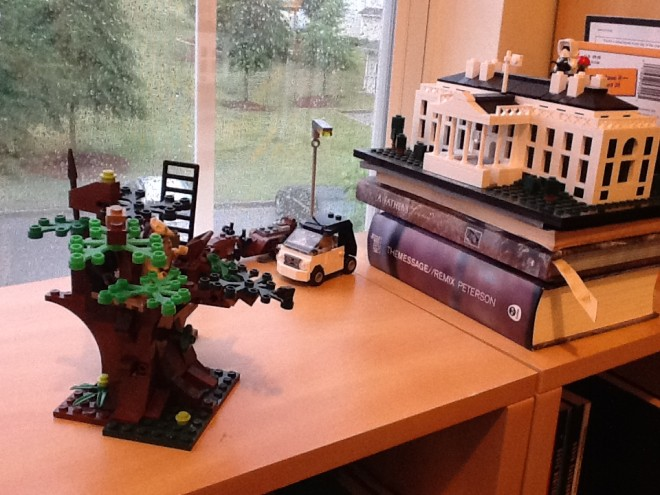 The LEGO scene by my favorite chair. Photo by Rob Adams.