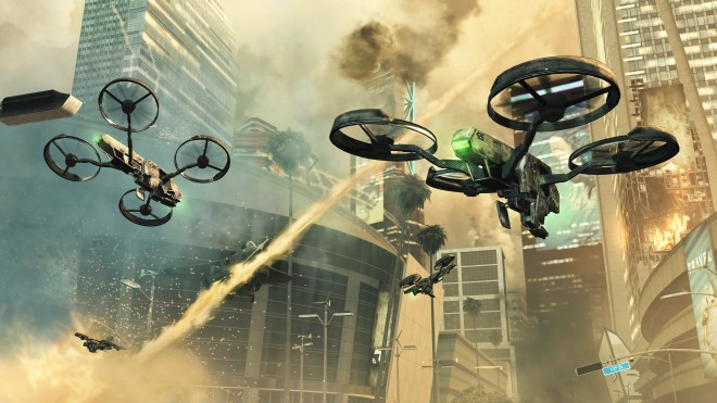 Heavily armed UAVs in the skies over Los Angeles