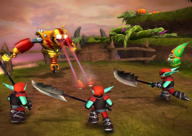 Bouncer, a Skylanders Giant, uses his laser beam eyes to attack the enemy.