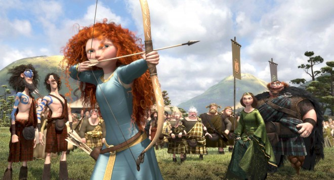A key early scene from BRAVE. Left to right: LORD MACINTOSH and his son, YOUNG MACINTOSH; MERIDA, WEE DINGWALL and his father, LORD DINGWALL; LORD MacGUFFIN and his son, YOUNG MacGUFFIN; QUEEN ELINOR and KING FERGUS.  (Photo: (C)2012 Disney/Pixar. All Rights Reserved)