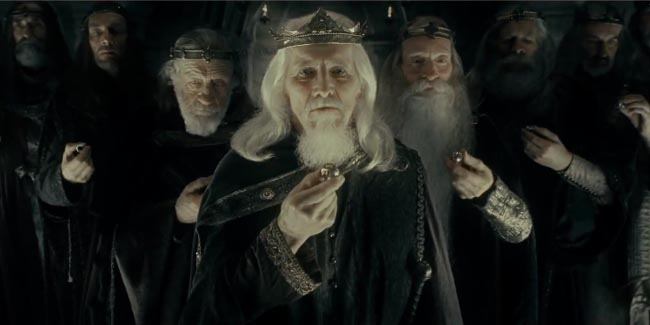 The giving of the rings to the nine kings of men. A scene from the Silmarillion included in the Lord of the Rings Movie.