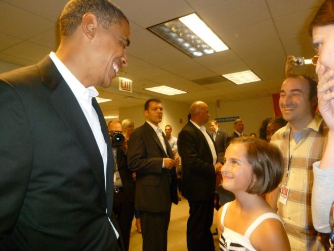 Sophia meets the President.