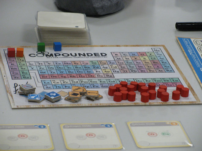 Even the score track for Compounded is a periodic table of elements.