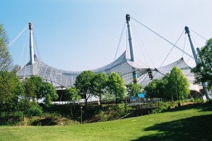 munich olympic stadium and its strangely shaped roof