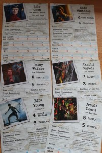 female investigators cards from Arkham Horror