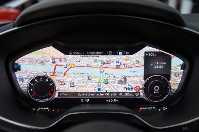 The new dash of the Audi TT will be fully configurable, with a choice of a map view or traditional gauges. Photo: Audi