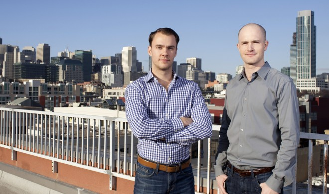 Coinbase co-founders Fred Ehrsam (left) and Brian Armstrong. Photo: Josh Valcarcel/WIRED