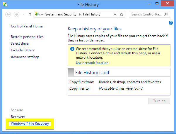 The Windows 7 File Recovery link at the bottom left! Image: Microsoft