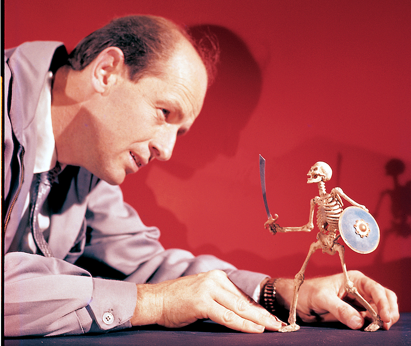 Stop-motion pioneer Ray Harryhausen tinkers with a skeleton featured in The 7th Voyage of Sinbad. Photo courtesy Watson-Guptill Publications