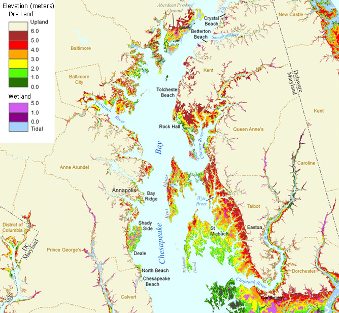 Endangered beaches in Chesapeake Bay - map from Jim Titus, EPA