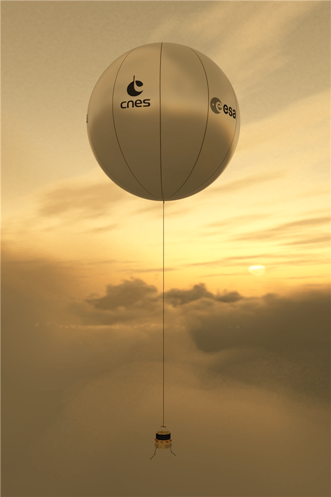 A concept for the European Venus Explorer balloon seen floating in Venus' atmosphere. The Soviet Vega missions would have looked similar to this proposed balloon probe. Image: T.Balint / EVE