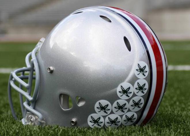 Buckeyes football helmet with stickers