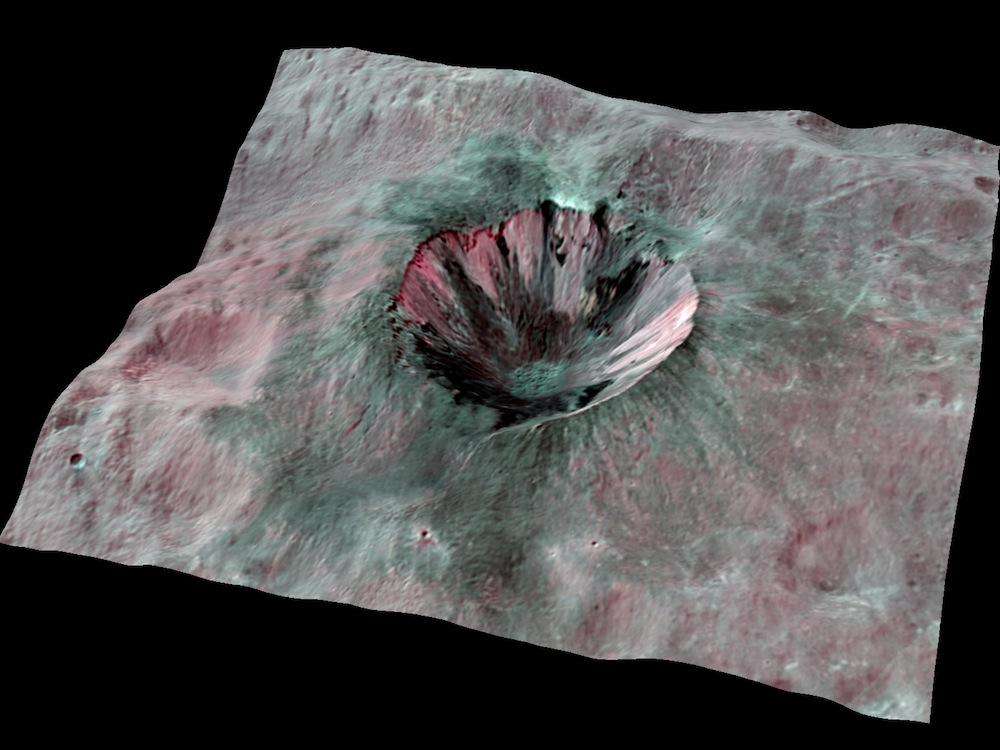 Vesta Crater in 3 D