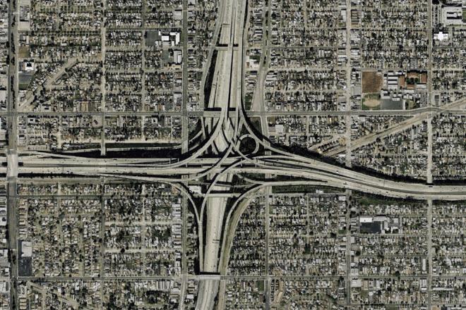 A freeway interchange in Los Angeles.