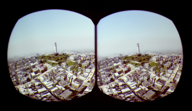 A stereoscopic view of Coit Tower, as rendered on the screen of an Oculus Rift. Internal lenses correct the distortion to produce a 3D experience.