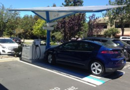 Envision Solar's EV ARC system fits in a single parking space.