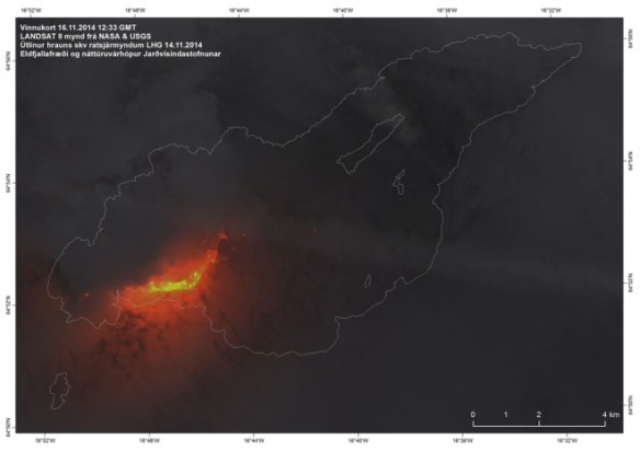 The Holuhraun lava field (shown in white outline) and the active vent seen by Landsat 8 on November 16, 2014. Image by University of Iceland Institute of Earth Sciences / IMO.