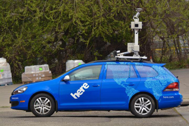 A Nokia HERE car outfitted with GPS, LIDAR, and cameras.