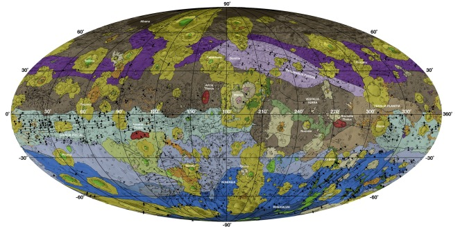 This new map of the asteroid Vesta, which uses a Mollweide projection, reveals the asteroid's geological history.