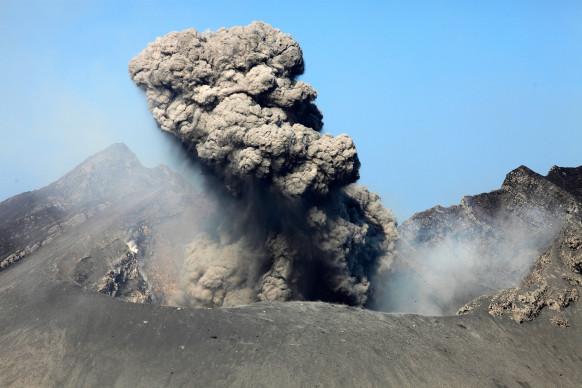 Sakurajima Volcano erupting, with ash cloud rising from Showa Crater on Japan's most active volcano, 2012.