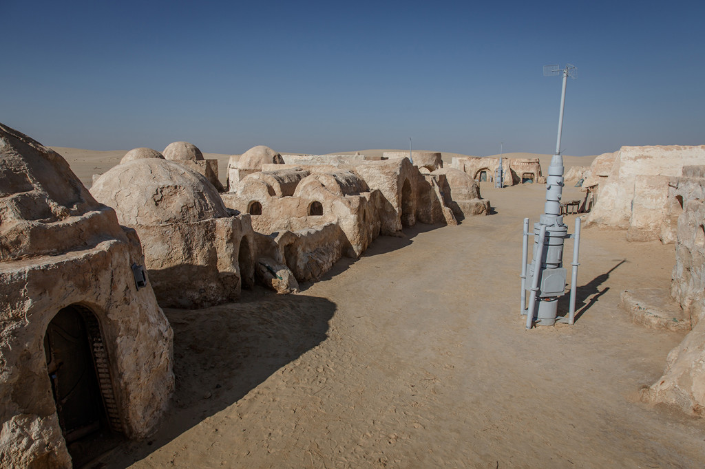 A wide view of the Mos Espa set. Near Ong Jemel, Tunisia.