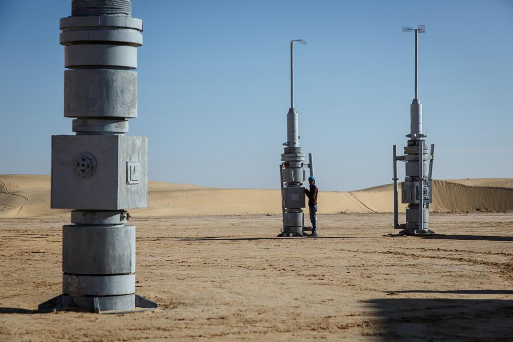 Moisture vaporators still stand at the Mos Espa set near Ong Jemel, Tunisia.