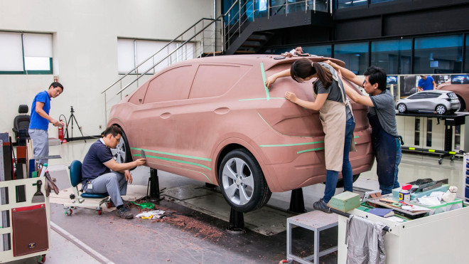 Although car design happens largely on the computer, clay models remain critical for assessing form, lines, and proportion.  Courtesy of GM