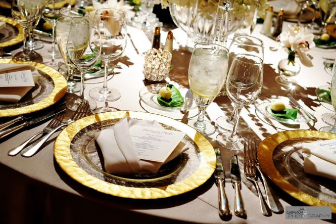 Elegant Formal Wedding Dinner Table With White And Gold Theme Candles Flower Arrangements