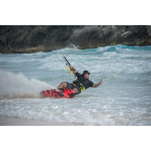 Steven Decouto takes to Horseshoe Bay for a great kitesurfing day on Sunday.