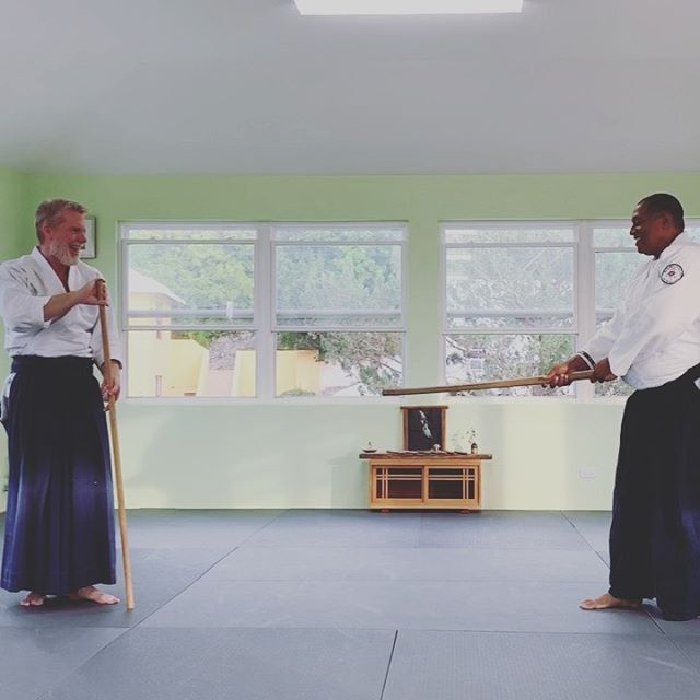 Eugene and I trying to work some bokken vs jo techniques out.