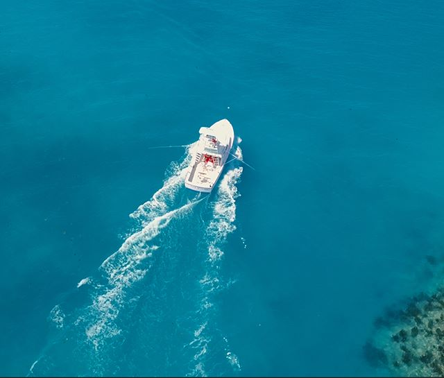Screen capture of some aerial video taken onboard the Sea Wolfe with @seawolfesportfishingbda Captain Russel and 1st Mate Jen. Yes, the waters around Bermuda really are this color. Video almost done.