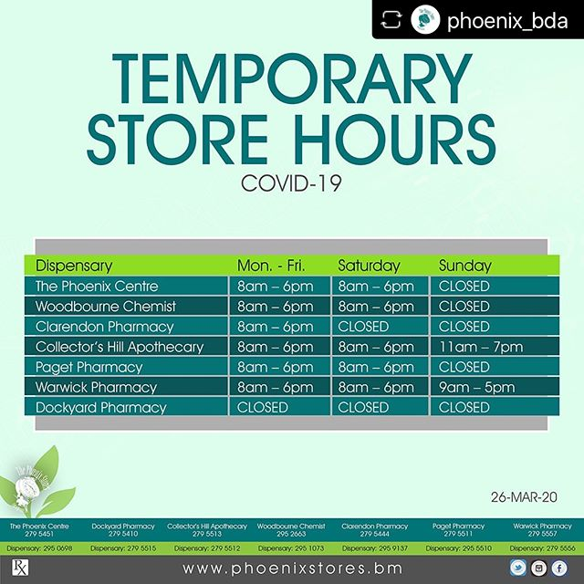 TEMPORARY STORE HOURS - COVID-19