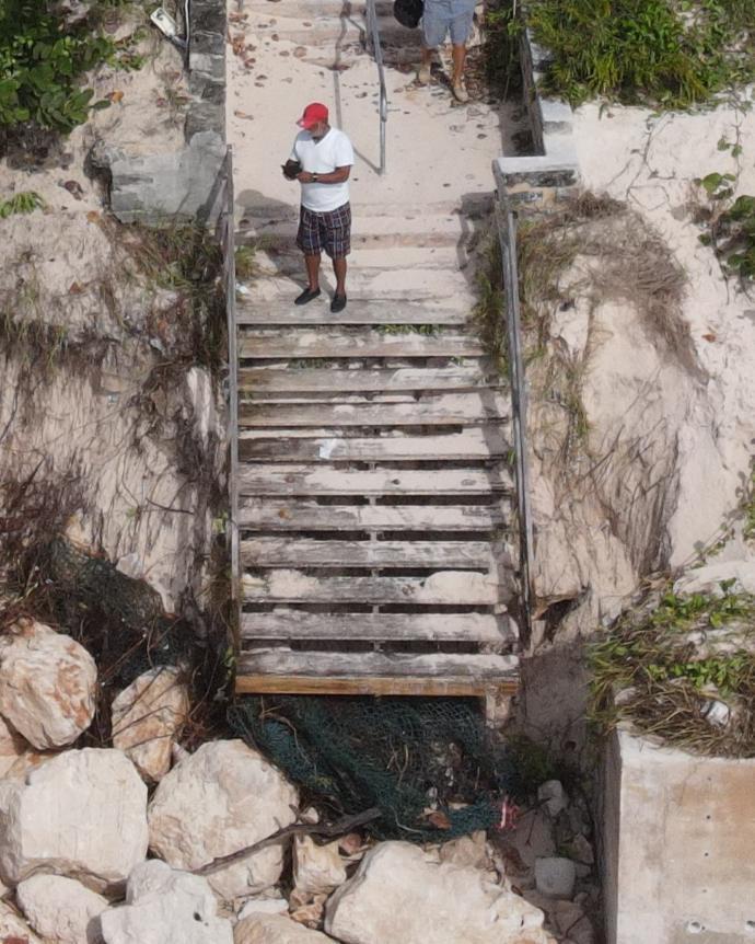 Elbow Beach steps a little worse for wear.