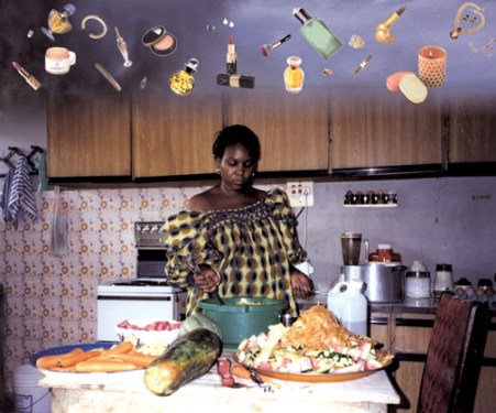 Fatimah Tuggar, Day Dream, 1998, computer montage (inkjet on vinyl), 58 X 48 inches
