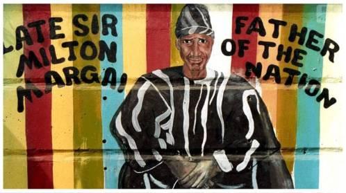 Mural en Freetown de Sir Milton Augustus Strieby Margai. Fuente: Brand Sierra Leone