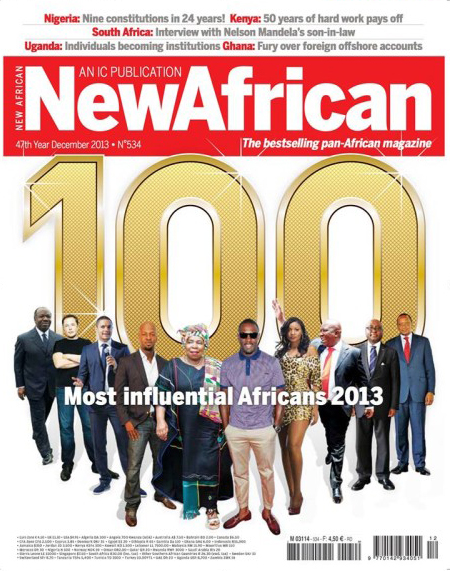 Portada del número de dicembre de New African Magazine, con la lista de los 100 personajes más influyentes del continente
