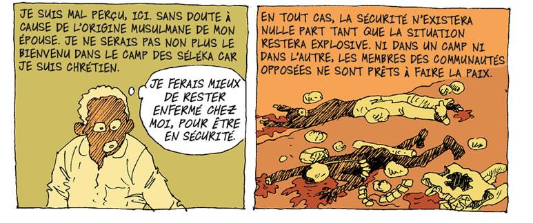 """Selección de viñetas del cómic """"Bangui. Une teémoignage de Didier Kassaï""""."""