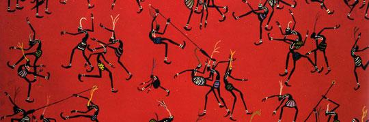 Guerriers en lutte (c. 1955), de Nicolas Ondongo. Oli sobre tela