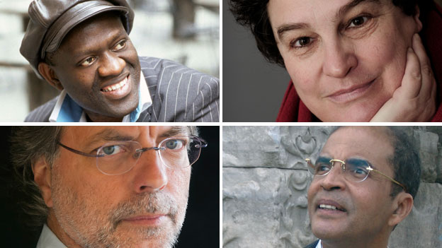 Arriba a la izquierda, Alain Mabanckou; a la derecha, Marlene van Niekerk; abajo a la izquierda, Mia Couto; y a la derecha, completando el cuarteto africano, el libio Ibrahim al-Koni.