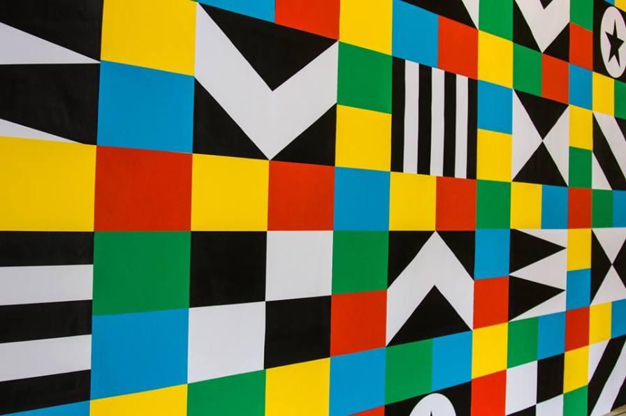 Mural creado por la artista Lakwena Maciver con motivo del áfrica Utopía en el Southbank Centre. Foto: Pete Woodhead