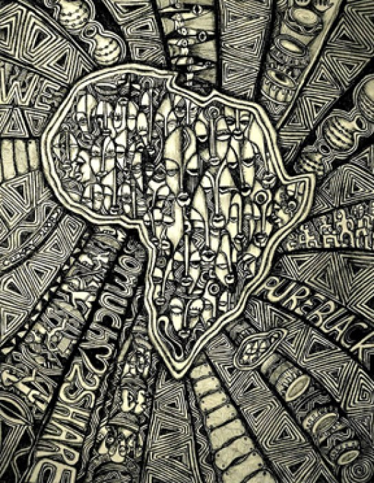 'Africa in Coal', Laolu Senbanjo / www.flatbushartists.org/