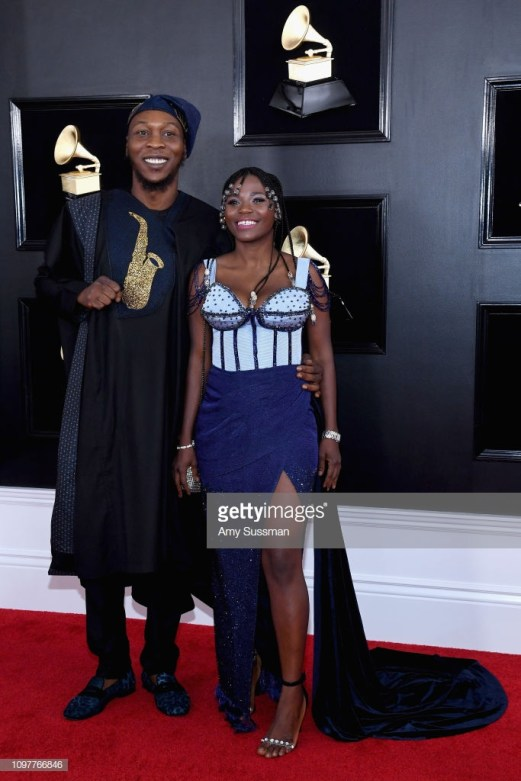 LOS ANGELES, CA - FEBRUARY 10: Seun Kuti and Yetunde George Ademuluyi attend the 61st Annual GRAMMY Awards at Staples Center on February 10, 2019 in Los Angeles, California. (Photo by Amy Sussman/FilmMagic)