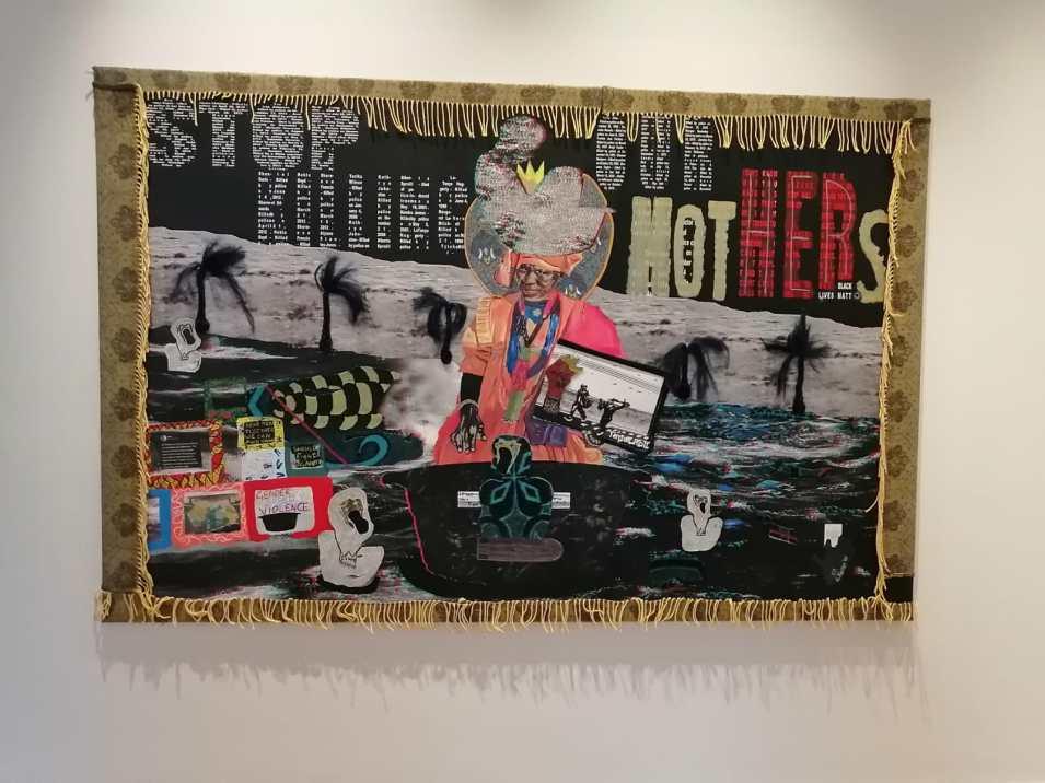 Giggs Kgole, Boshielo, 2020, Anaglyph, Oil, Acrylic, fabric and mixed media collage on canvas, 230 x 150 cm. Courtesy of Signature African Art Gallery. Fotografía: Estrella Sendra.