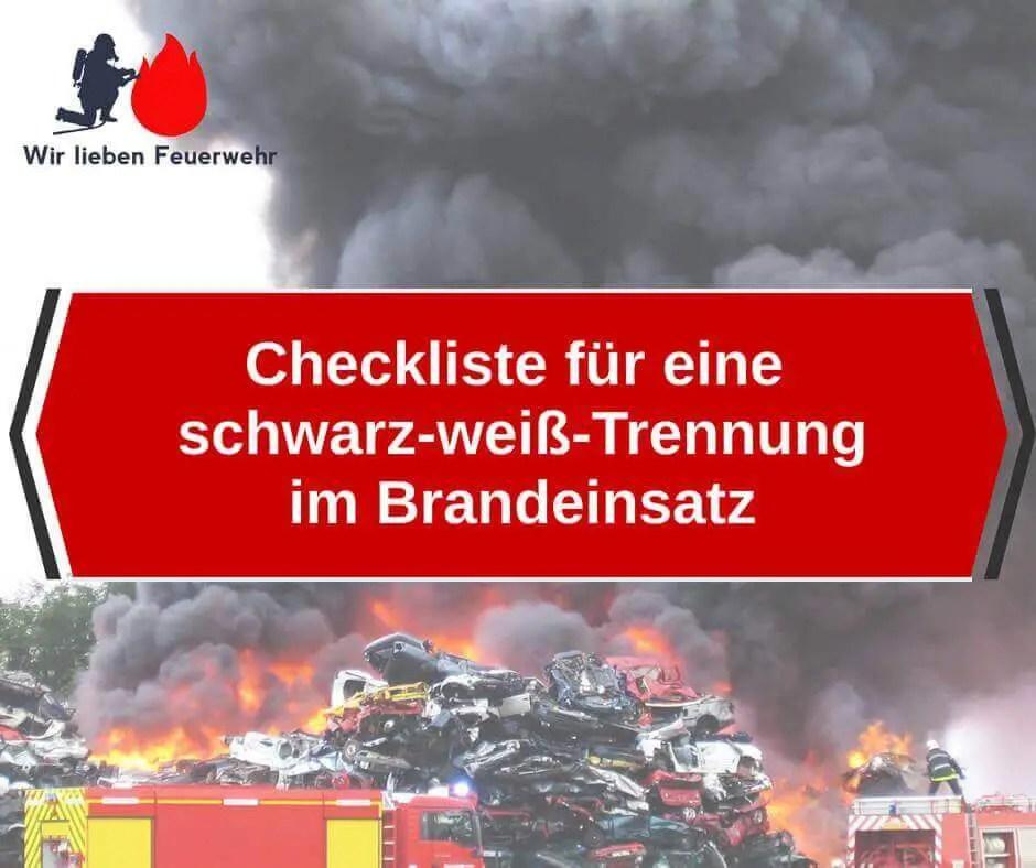 Checkliste für eine schwarz-weiß-Trennung im Brandeinsatz